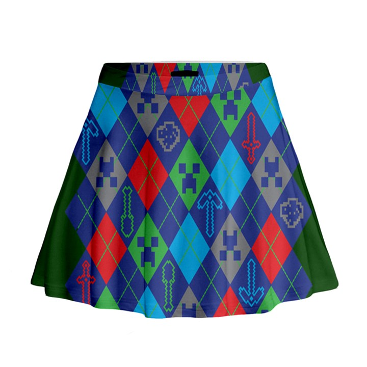 Minecraft Ugly Holiday Christmas Green Background Mini Flare Skirt