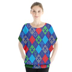 Minecraft Ugly Holiday Christmas Green Background Blouse