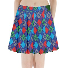 Minecraft Ugly Holiday Christmas Green Background Pleated Mini Skirt
