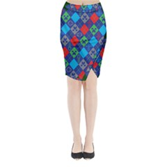 Minecraft Ugly Holiday Christmas Green Background Midi Wrap Pencil Skirt