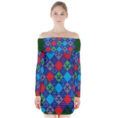 Minecraft Ugly Holiday Christmas Green Background Long Sleeve Off Shoulder Dress