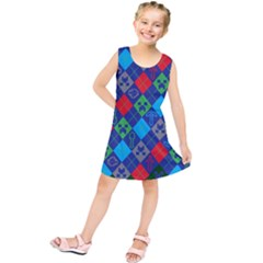 Minecraft Ugly Holiday Christmas Green Background Kids  Tunic Dress
