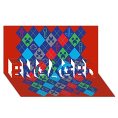 Minecraft Ugly Holiday Christmas Red Background ENGAGED 3D Greeting Card (8x4)