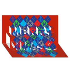 Minecraft Ugly Holiday Christmas Red Background Merry Xmas 3d Greeting Card (8x4)