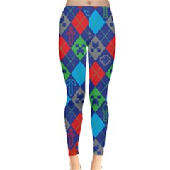 Minecraft Ugly Holiday Christmas Red Background Leggings