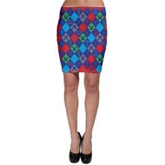 Minecraft Ugly Holiday Christmas Red Background Bodycon Skirt