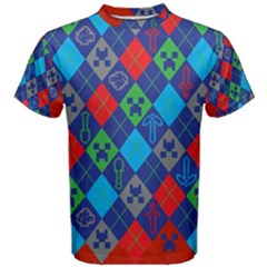 Minecraft Ugly Holiday Christmas Red Background Men s Cotton Tee