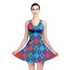 Minecraft Ugly Holiday Christmas Red Background Reversible Skater Dress