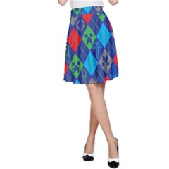 Minecraft Ugly Holiday Christmas Red Background A-Line Skirt