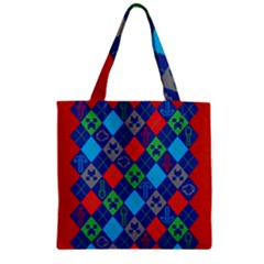 Minecraft Ugly Holiday Christmas Red Background Zipper Grocery Tote Bag