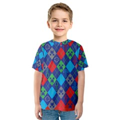 Minecraft Ugly Holiday Christmas Red Background Kids  Sport Mesh Tee
