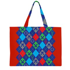 Minecraft Ugly Holiday Christmas Red Background Large Tote Bag