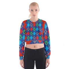 Minecraft Ugly Holiday Christmas Red Background Women s Cropped Sweatshirt