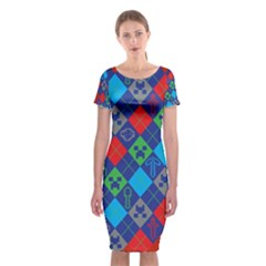 Minecraft Ugly Holiday Christmas Red Background Classic Short Sleeve Midi Dress