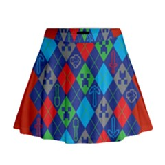 Minecraft Ugly Holiday Christmas Red Background Mini Flare Skirt