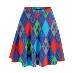Minecraft Ugly Holiday Christmas Red Background High Waist Skirt