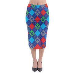 Minecraft Ugly Holiday Christmas Red Background Midi Pencil Skirt