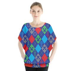 Minecraft Ugly Holiday Christmas Red Background Blouse
