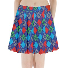 Minecraft Ugly Holiday Christmas Red Background Pleated Mini Skirt