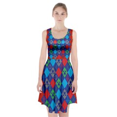 Minecraft Ugly Holiday Christmas Red Background Racerback Midi Dress