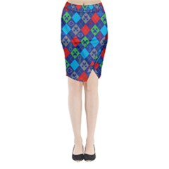 Minecraft Ugly Holiday Christmas Red Background Midi Wrap Pencil Skirt