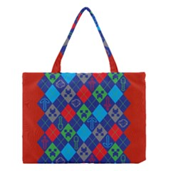 Minecraft Ugly Holiday Christmas Red Background Medium Tote Bag