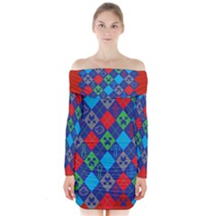 Minecraft Ugly Holiday Christmas Red Background Long Sleeve Off Shoulder Dress