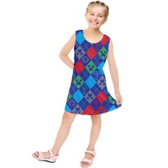 Minecraft Ugly Holiday Christmas Red Background Kids  Tunic Dress