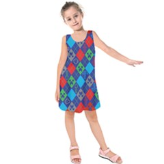 Minecraft Ugly Holiday Christmas Red Background Kids  Sleeveless Dress