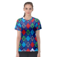 Minecraft Ugly Holiday Christmas Women s Sport Mesh Tee