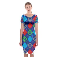 Minecraft Ugly Holiday Christmas Classic Short Sleeve Midi Dress
