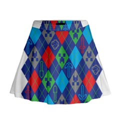 Minecraft Ugly Holiday Christmas Mini Flare Skirt