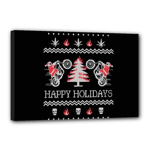 Motorcycle Santa Happy Holidays Ugly Christmas Black Background Canvas 18  x 12