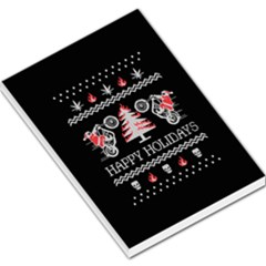 Motorcycle Santa Happy Holidays Ugly Christmas Black Background Large Memo Pads