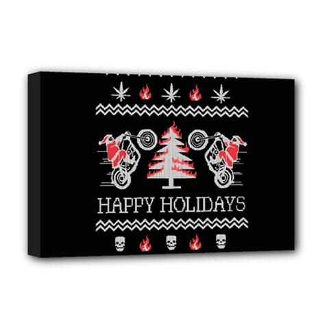 Motorcycle Santa Happy Holidays Ugly Christmas Black Background Deluxe Canvas 18  x 12