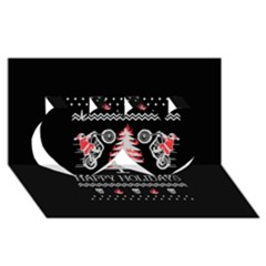 Motorcycle Santa Happy Holidays Ugly Christmas Black Background Twin Hearts 3D Greeting Card (8x4)