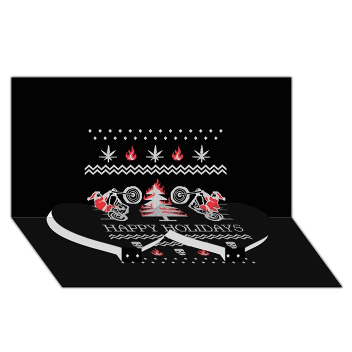 Motorcycle Santa Happy Holidays Ugly Christmas Black Background Twin Heart Bottom 3D Greeting Card (8x4)