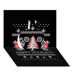 Motorcycle Santa Happy Holidays Ugly Christmas Black Background Apple 3d Greeting Card (7x5)