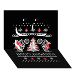 Motorcycle Santa Happy Holidays Ugly Christmas Black Background Clover 3d Greeting Card (7x5)
