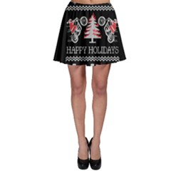 Motorcycle Santa Happy Holidays Ugly Christmas Black Background Skater Skirt
