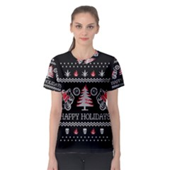 Motorcycle Santa Happy Holidays Ugly Christmas Black Background Women s Sport Mesh Tee
