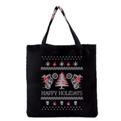 Motorcycle Santa Happy Holidays Ugly Christmas Black Background Grocery Tote Bag