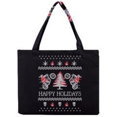 Motorcycle Santa Happy Holidays Ugly Christmas Black Background Mini Tote Bag