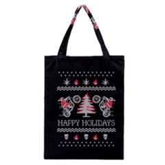 Motorcycle Santa Happy Holidays Ugly Christmas Black Background Classic Tote Bag