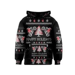 Motorcycle Santa Happy Holidays Ugly Christmas Black Background Kids  Pullover Hoodie