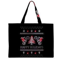 Motorcycle Santa Happy Holidays Ugly Christmas Black Background Zipper Mini Tote Bag
