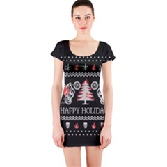 Motorcycle Santa Happy Holidays Ugly Christmas Black Background Short Sleeve Bodycon Dress