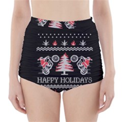 Motorcycle Santa Happy Holidays Ugly Christmas Black Background High-Waisted Bikini Bottoms