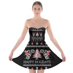 Motorcycle Santa Happy Holidays Ugly Christmas Black Background Strapless Bra Top Dress
