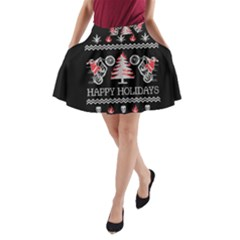 Motorcycle Santa Happy Holidays Ugly Christmas Black Background A-Line Pocket Skirt